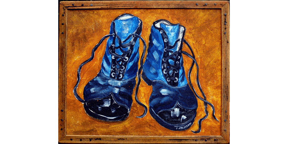"""Blue Boots,Oil on canvas. 14"""" x 17"""""""