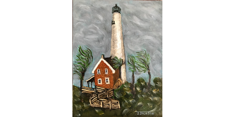 """St. George Lighthouse_Oil on canvasboard. 12"""" x 16"""""""